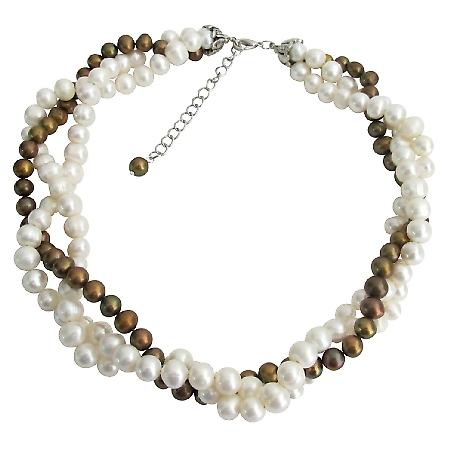 Freshwater Pearl Twisted Necklace Golden Freshwater Pearls 3 Strand