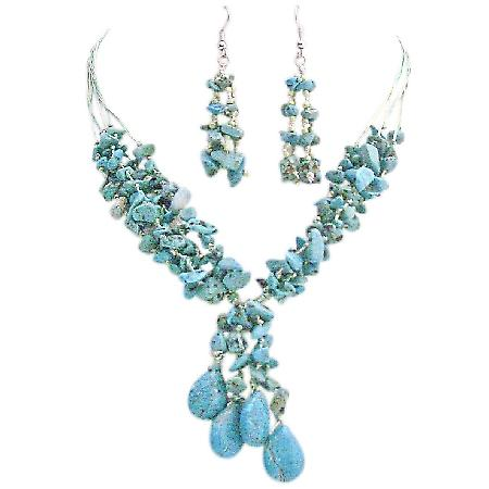 Turquoise Stone Interwoven 5 Stranded Silk Thread Drop Down Necklace