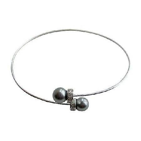 Swarovski Pearls Wire Cuff Bracelet Silver Rondells Bracelet