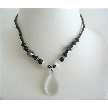 Opal White Cat Eye Teardrop Pendant Black Beaded Choker Necklace