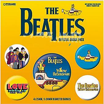 The Beatles (Yellow Submarine) 5 round Pin Badges in Pack (py)