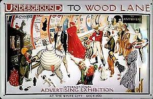 Underground to Wood Lane embossed steel sign