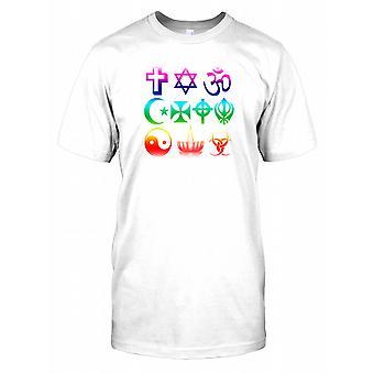 Verschillende religieuze symbolen Mens T Shirt