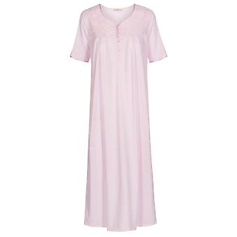 Feraud 3191365-10038 Women's High Class Rose Pink Cotton Embroidered Night Gown Loungewear Nightdress