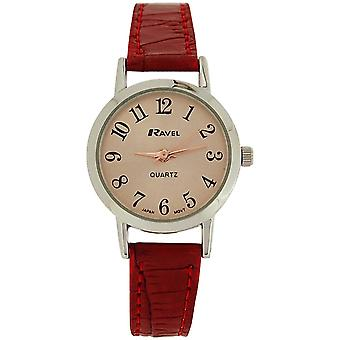 Ravel Ladies Rose Goldtone Dial & Red Crocodile Effect PU Strap Watch R0127.10.2