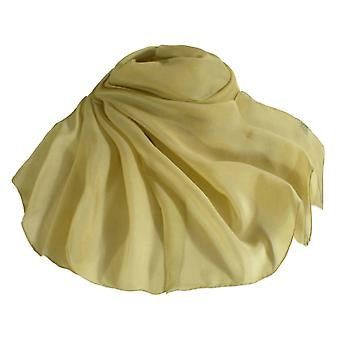 Eternal Collection Plain Gold Oblong Pure Silk Chiffon Scarf