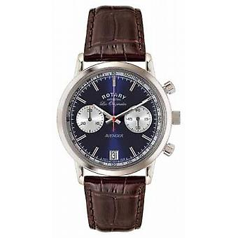 Rotary Mens Avenger Brown Leather Strap Blue Dial GS90130/05 Watch