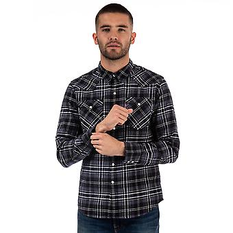 Mens Levis Barstow camicia occidentale in charcoal-manica lunga-pulsante Popper