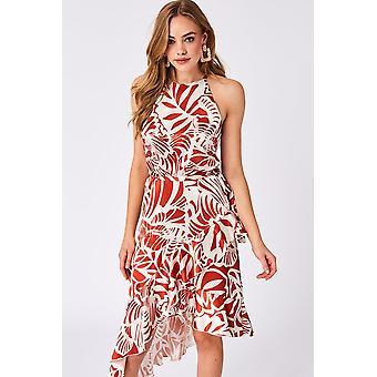 9e55fe3053313 Little Mistress Triumph Peach Ruffle Midi Dress