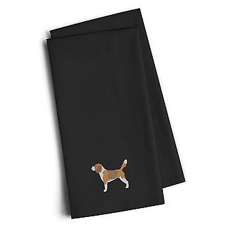 Carolines Treasures  BB3410BKTWE Beagle Black Embroidered Kitchen Towel Set of 2