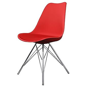 Fusion Living Eiffel Inspired Red Plastic Dining Chair With Chrome Metal Legs