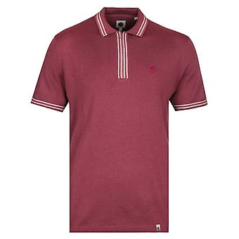 Pretty Green Sutton Zip Neck Burgundy Chemise en tricot