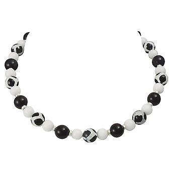 Colección eterna Portamento negro ágata blanco collar de Jade
