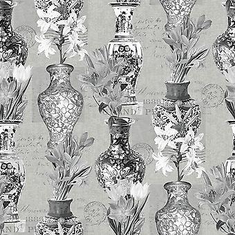Kyoto Oriental Vases Flowers Wallpaper Blue Silver Metallic Holden Decor Imari