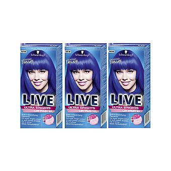 Schwarzkopf Ultra Brights 095 Electric Blue Semi-Permanent Hair Dye x 3 Pack