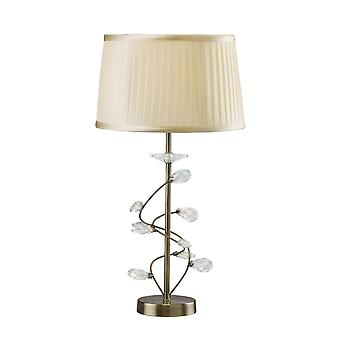 Diyas Willow Table Lamp With Cream Shade 1 Light Antique Brass/Crystal