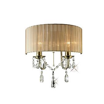 Diyas IL30064 Olivia Wall Lamp Switched With Soft Bronze Shade 2 Light Antique Brass/Crystal