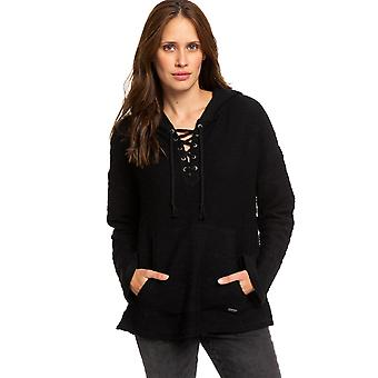 Roxy Young Womens Would You Believe Poncho Hoodie - Anthracite Black