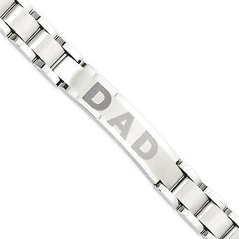 Edelstahl-Falte-Over Laser geätzt gebürstet und poliert 8,75 Zoll Papa Armband