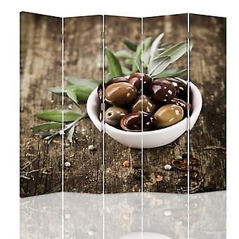 Room Divider, 5 Panels, Double-Sided, Rotatable 360 ??° Canvas, Fresh Olives