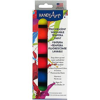 Handy Art Tempera Washable Paint Kit .75oz 6/Pkg-Fluorescent 882-320J