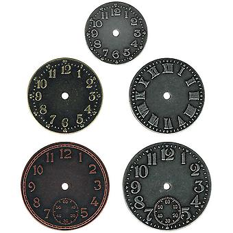 Idea Ology Timepieces Clock Faces 5 Pkg Nickel Brass Copper Th92831