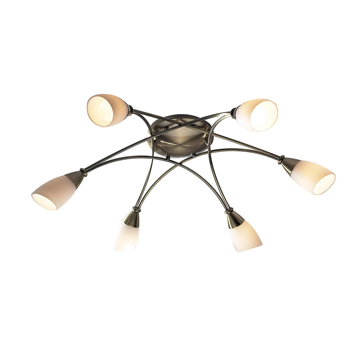 Dar BUR0675 Bureau Traditional Brass 6 Arm Flush Ceiling Light With Opal Glass