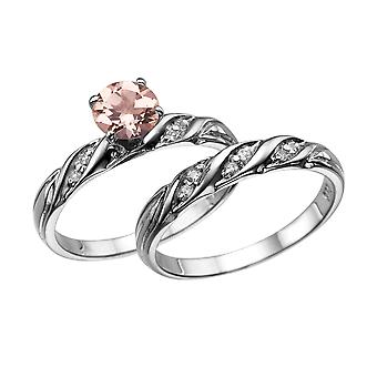 1.10 CTW natural peach/pink VS Morganite Ring with Diamonds 14k White Gold Wedding Set