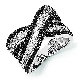 Sterling Silver CZ White and Black Ring - Ring Size: 6 to 8