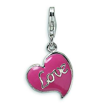 Sterling Silver 3-D Pink Enameled Heart With Lobster Clasp Charm - 4.3 Grams - Measures 28x14mm
