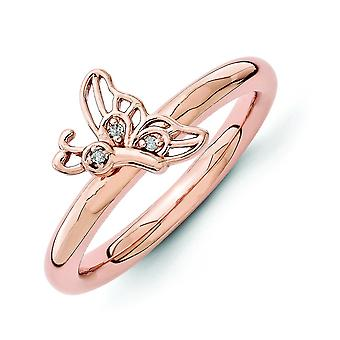 2.5mm Sterling Silver Stackable Expressions Pink-plated Butterfly With Dia. Ring - Ring Size: 5 to 10