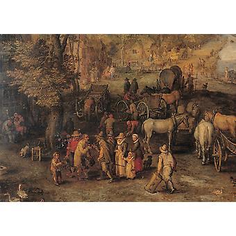 Bruegel Jan de ældste kendte som fløjl Bruegel landsby fra 1600-tallet olie på kobber Italien Lombardiet Milano Brera kunstgalleri Everett CollectionMondadori portefølje plakat Print