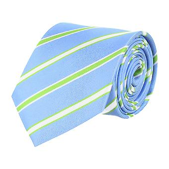 Pelo classic silk tie necktie silk light blue - white green striped