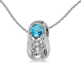 10k White Gold Round Blue Topaz Baby Bootie Pendant with 16