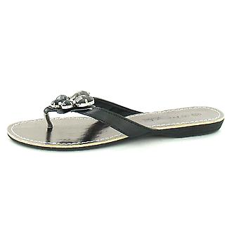 Ladies Spot On Flat Toe Post Sandal With Butterfly Trim - F0453