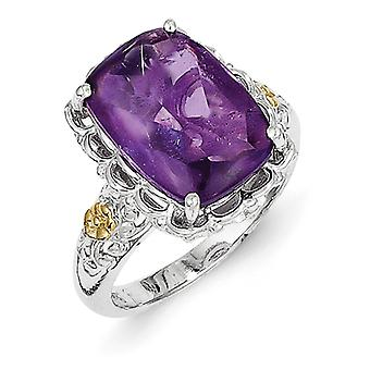 Sterling Silver Polished Prong set With 14k Amethyst Ring