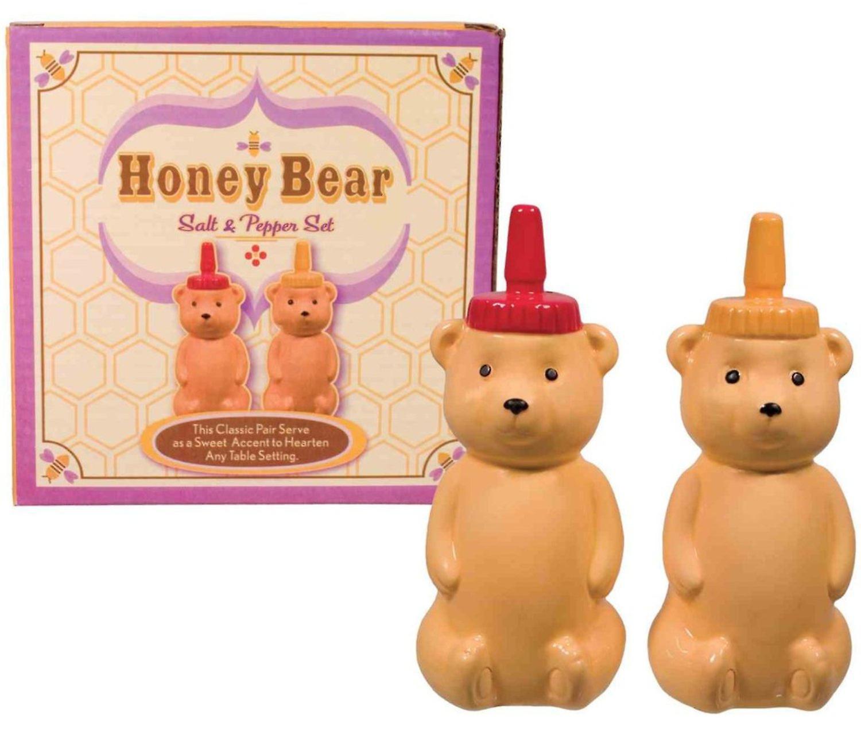 Honey Bears Salt and Pepper Shakers Set Porcelain