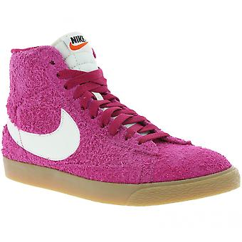 NIKE WMNS Blazer mid suede vintage shoes ladies leather sneaker pink 518171 614