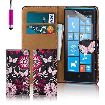 Дизайн книги пу кожаный чехол для Nokia Lumia 820 - герберы