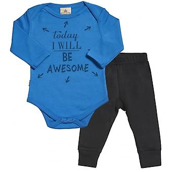 Spoilt Rotten Today I Will Be Awesome Babygrow & Jersey Trousers Outfit Set