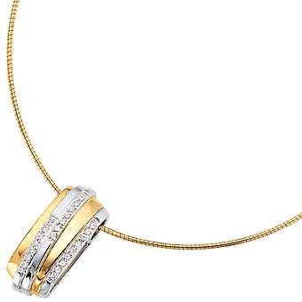 Rhodium plated sterling silver pendant 925 bicolor gold plated with cubic zirconia