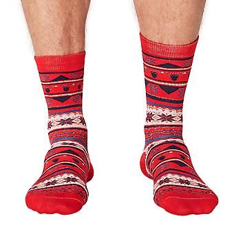 Jingle men's soft Christmas bamboo crew socks in red | By Thought
