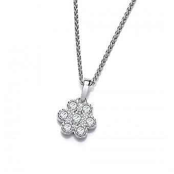 Cavendish French Silver and Cubic Zirconia Petal Pendant without Chain