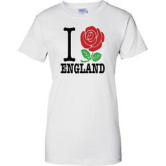 Ich liebe England - Rose Heart - Damen-T-Shirt