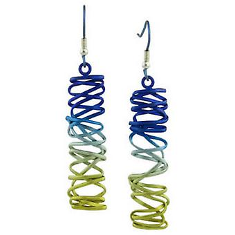 Ti2 Titanium Rectangle Chaotic Drop Earrings - Rainbow A