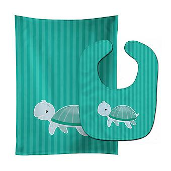 Carolines Treasures  BB7117STBU Sea Turtle Baby Bib & Burp Cloth