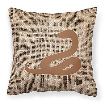 Snake Burlap and Brown   Canvas Fabric Decorative Pillow BB1124
