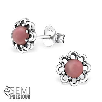 Flower - 925 Sterling Silver Opal And Semi Precious Ear Studs - W31101x