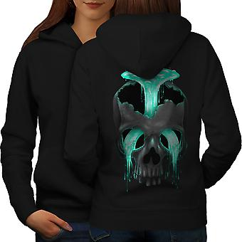 Head Waterfall Cool Skull Women BlackHoodie Back | Wellcoda
