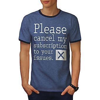 Cancelar suscripción hombres Heather azul / NavyRinger camiseta | Wellcoda